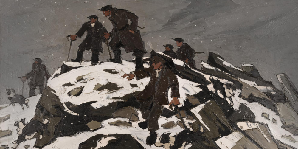 Darn o 'The Gathering, or, Farmers on Glyder Fach' by Kyffin Williams