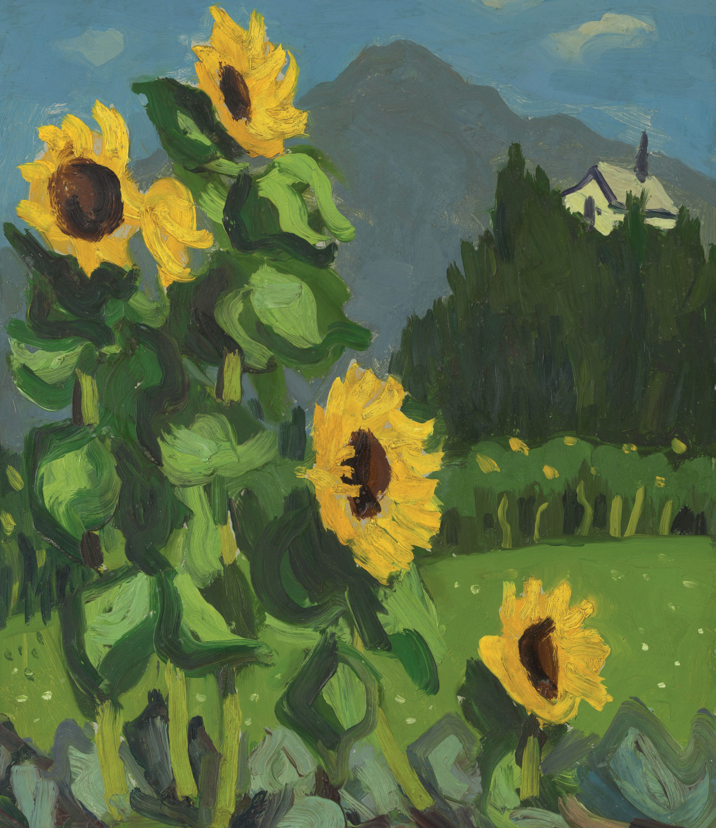 'Sunflowers with Mountains Beyond' gan Kyffin Williams